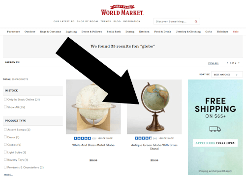 enter worldmarket coupon step one