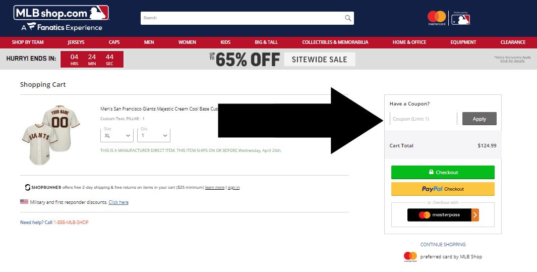 mlb coupon step two
